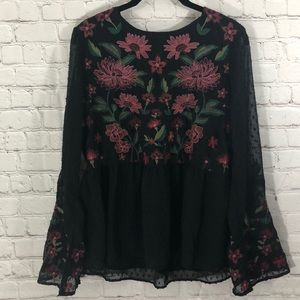 American eagle embroidered BOHO top blouse